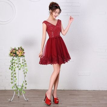 2016 New Cheap Women Short Burgundy Prom Dresses A-line Empire Maternity Chiffon Teens Prom Cocktail Dresses Simple Custom Made