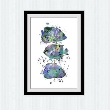 Watercolor fishes print, Watercolor fish poster,  Nautical artwork ocean blue green painting modern artwork  living room wall design W288