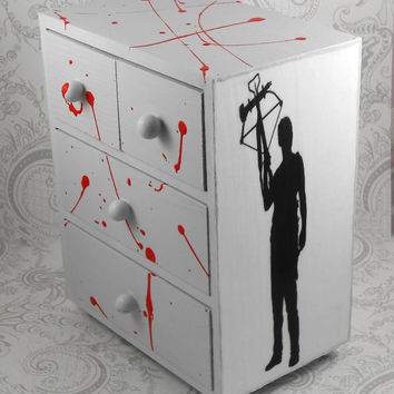 Custom Zombie Daryl Dixon Blood Splatter Walking Dead Stash Jewelry Box