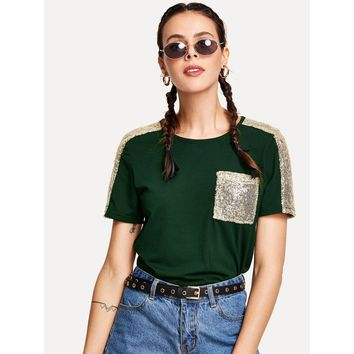 Contrast Sequin T-shirt