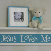 "Turquoise Nursery Decor Wall Shelves, Baby Shower Gift  24"" Linen (Off White) Shelf, Teal Green Sign / Inspirational Saying - Jesus Loves Me"