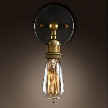 Factory Industrial Bare Bulb Filament Wall Lamp - Bronze