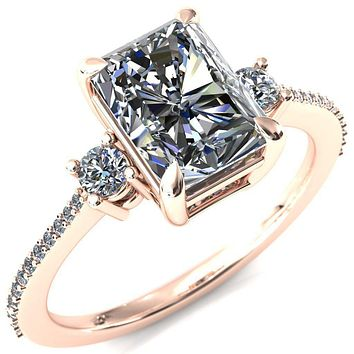 Bonnie Radiant Moissanite 4 Claw Prong 2 Rail Basket Round Sidestones Inverted Cathedral Diamond Accent Engagement Ring