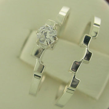 Beautiful New Genuine Diamond Interlocking Engagement Ring Set White or Yellow Gold 14kt Size 3-10