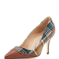 Manolo Blahnik Ancor Plaid & Leather Wing-Tip Pump, Brown