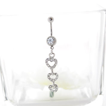 Black Friday Deal Navel Belly Button Ring Barbell Clear Rhinestones naval long dangle white silver three heart belly ring