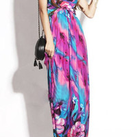 Purple Bohemian Floral Maxi Dress