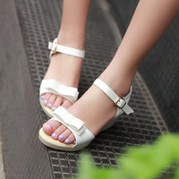 Summer Bow Women Sandals Wedges Platform Pumps High Heels Shoes 2016 5931
