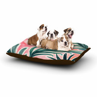 """Crystal Walen """"Lush Palm Leaves """" Green Pink Dog Bed"""