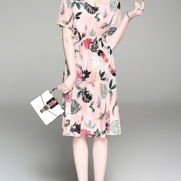Leaf Print Midi Silk Dress