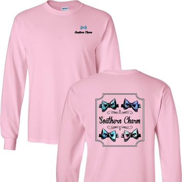 Southern Charm Preppy Bow Tie on a Light Pink Long Sleeve T Shirt