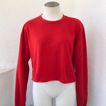 MANNY CROP SWEATER- RED