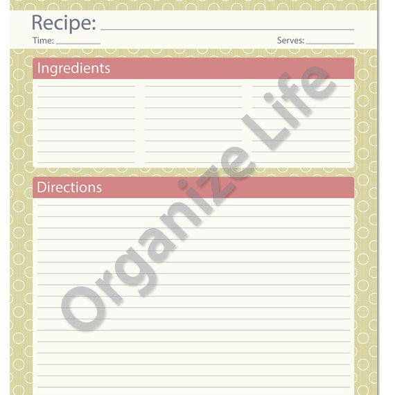 Recipe Card, Full Page - Recipe Template -  Printable PDF