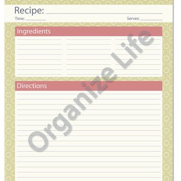 recipe card full page recipe template printable pdf