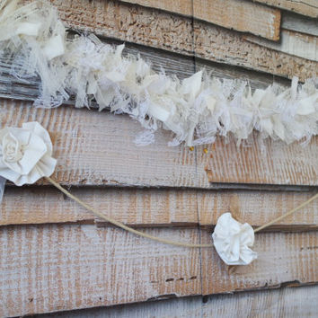 SALE!  Shabby Chic Garland, White Lace Rustic Wedding Aisle Liner  FREE US Shipping