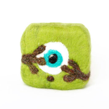 Best baby bath toy! Funny soap monster for kids. Monster university! Handmade felted monster made of lime green wool and natural soap