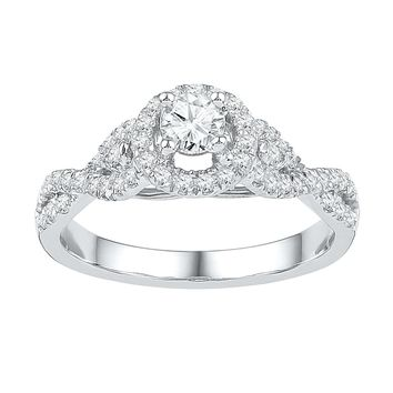 14kt White Gold Womens Round Diamond Solitaire Twist Bridal Wedding Engagement Ring 1/2 Cttw