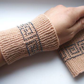 Beaded Wrist warmers, cuffs light brown with dark silver, grey glossy beads Egyptian ornament, from cashmere,  Ready to ship