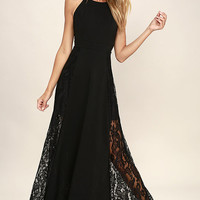 Dark of Night Black Lace Maxi Dress