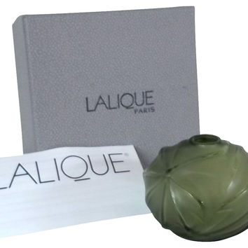 Lalique Crystal Green Palm  Vase