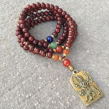 108 Bead Yoga Mala Bracelet or Necklace, Made with Rosewood and Gemstone Marker Beads with Durga Pendant
