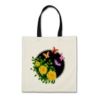 roses and butterflies tote bag