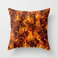 Fire and Flames Pattern Throw Pillow by gx9designs
