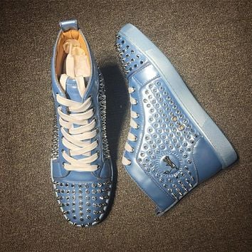 Cl Christian Louboutin Louis Spikes Mid Style #1804 Sneakers Fashion Shoes