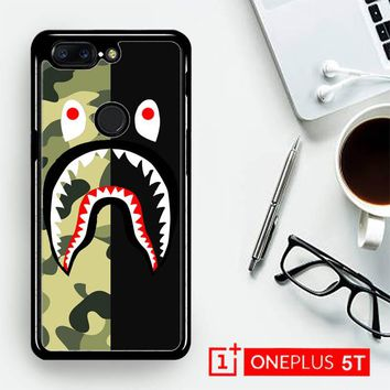 Half Camo Bape Shark Face Pattern L1951  OnePLus 5T / One Plus 5T Case