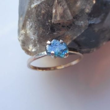 Raw Sapphire Ring | Sapphire Engagement Ring | Natural Uncut Sapphire