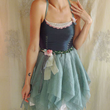 SALE Dolly Fairy Dress Halloween Costume... Size Small... ballerina whimsical fantasy vintage inspired corset green party