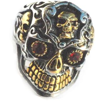 Stainless Steel Biker Skull w/ Gold Tone Teeth and Sides Men Ring