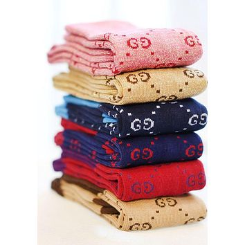 GUCCI Fashion Women Warm Long Socks Letter Print For Girl Full Color I