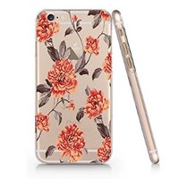 Vintage Floral Slim Iphone 6 Plus Case, Clear Iphone 6 Plus Hard Cover Case For Apple Iphone 6 Plus 5.5 Inch Screen-Emerishop