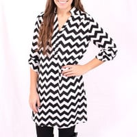 Chevron Tunic Dress - Black and White