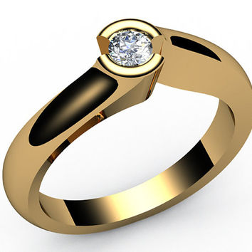 Diamond Engagement ring, Half bezel, tension, Solitaire Diamond Ring , carat,18K Yellow gold,18K White gold, Jewelry