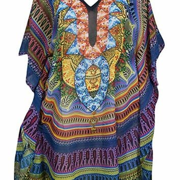 Mogul Interior Women's Sofia Caftan Short Dress Georgette Beach Cover up (Purple,Green): Amazon.ca: Clothing & Accessories