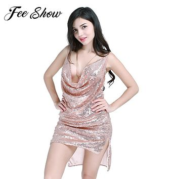 FEESHOW New Sexy Women Deep-V Backless Halter Chain Dress Sleeveless Sequin Party Bodycon Off the Shoulder Dress