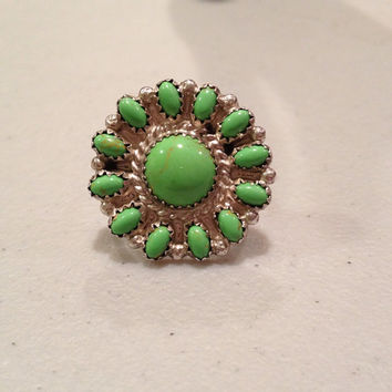 Navajo Gaspeite Ring Size 8 Sterling Silver Susie Lee Flower Floral Green Stone SL 925 Sunflower Daisy 1950s Southwestern Vintage Jewelry