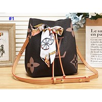 LV hot selling color matching printing shopping bag fashionable casual lady bucket shoulder bag with silk scarves #1