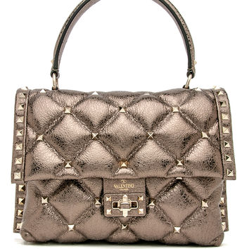 Platinum Candystud Top Handle Bag