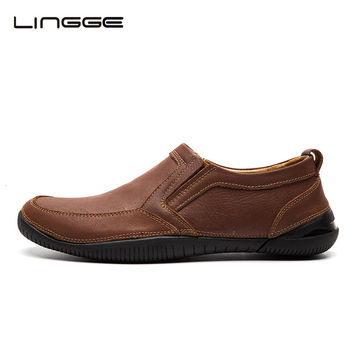 Mens Shoes Full Grain Leather Casual Shoes Handmade Leather Slip On Fashion Summer