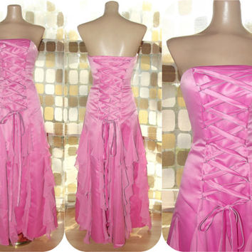 Vintage 90s Bubble Gum PINK Lace Up Corset Fairy Ball Gown Party Dress XS 3/4 Gothic Princess