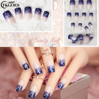 TKGOES 24pcs/set New Faux Ongles Full Cover False Nails Artificial Art Design Fake Nails Free With Glue JQ001-12J114
