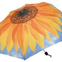 Sunflower & Blue- Flower Print - 44 Inch Arc Collapsible Fashion Umbrella - Harold Feinstein Art
