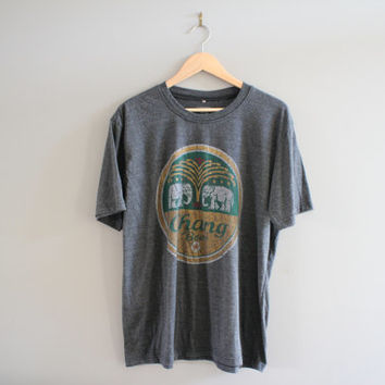 Thailand Chang Beer Tee Elephant Graphic Cotton Soft Comfy Baggy Grey Vintage 90s Size XL #T130A