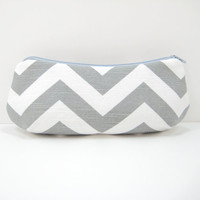 Gray Chevron Pouch, Curvy Accessory Pouch, Zippered Cosmetic Pouch, Pencil Case, Gray and White Canvas, Ready to Ship
