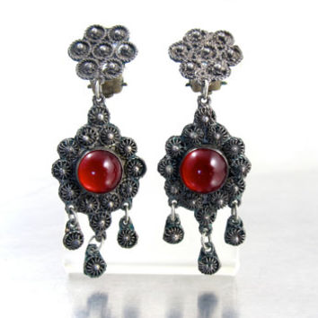 Etruscan Chandelier Dangle Earrings, Antique Silver Cannetille Granulation Wire Work Ruby Glass Clip Earrings, Tribal BoHo Etruscan Jewelry