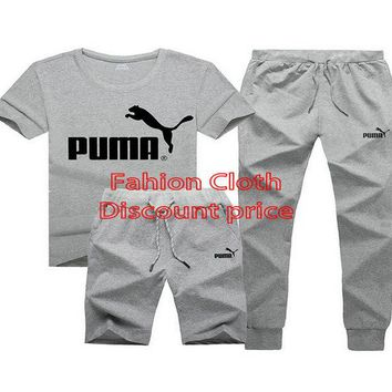 Puma New Style Clothing TREFOIL T-SHIRT Three-Piece Suit Grey