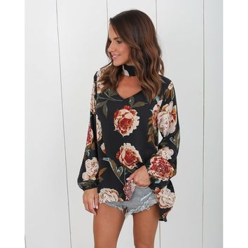 Black V-Neck Long Sleeve Blouse